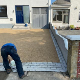 New resin driveway with granite border call Thomas for a free quote.